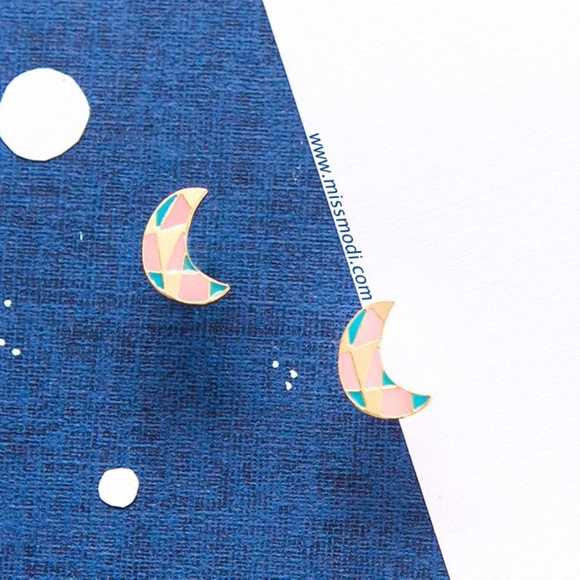 Miss Modi Jewelry - Hand-crafted Moon Collage Enamel Stud Earrings
